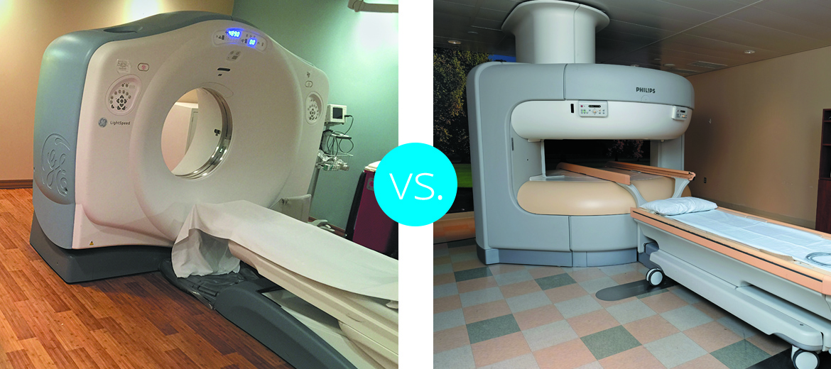 Understand the difference between a CT scan, PET and MRI