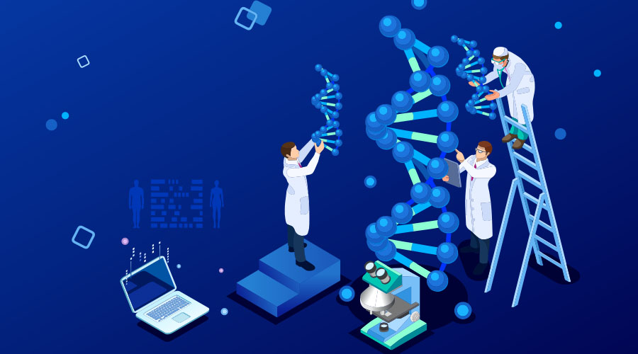 Vector image of doctors treating DNA genes