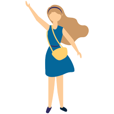 Vector illustration of a lady wearing a blue dress with yellow handbag raising her right hand under the black background