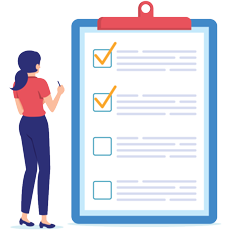 Vector illustration of women with a pen on her hand about to mark in patient summary sheet held in the writing pad
