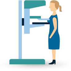 Vector Illustration of women standing in front of the Mammogram test machine for breast cancer screening test displayed under the black background