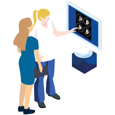 Female Technician explaining by pointing the radio imaging of mammogram test to a female patient